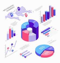 isometric infographic elements with charts vector image