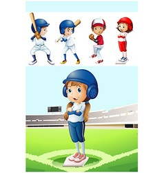 Kids in baseball uniform in the field vector
