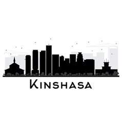 Kinshasa city skyline black and white silhouette vector