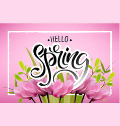 lettering of brush hello spring you can use in vector image