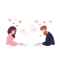 Man and woman sitting at laptops using dating vector
