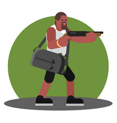man with shotgun and a bag of cash vector image