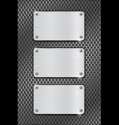 Metal brushed plates on iron perforated background vector