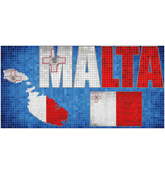 Mosaic map and flag of malta vector