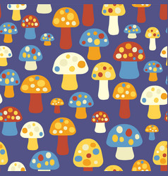 Mushrooms seamless pattern blue orange vector