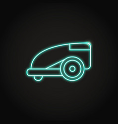 Neon smart lawn mower icon in line style vector