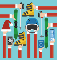 new year holiday with skiing set design flat vector image