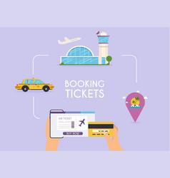 online booking ticked buy ticket traveling vector image
