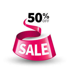 pink ribbon sale vector image