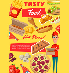 Poster of fast food meals and snacks vector