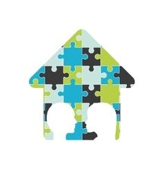 Puzzle head arrow teamwork support design vector