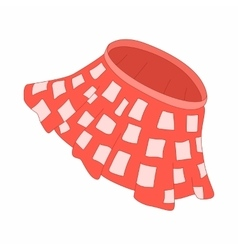 Red skirt with white squares icon cartoon style vector