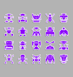 Robot ultraviolet patch sticker icons set vector