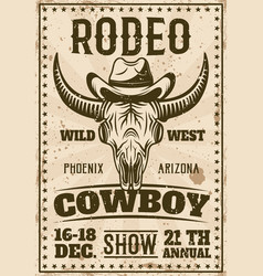 Rodeo show vintage poster with buffalo skull in vector