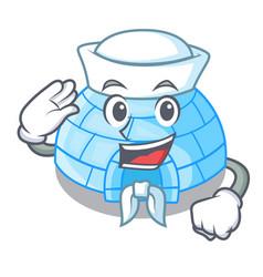 Sailor character cartoon ice house in snowfield vector
