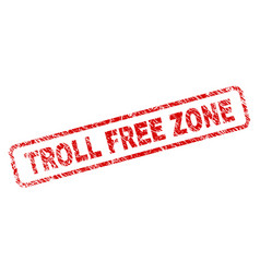 Scratched troll free zone rounded rectangle stamp vector