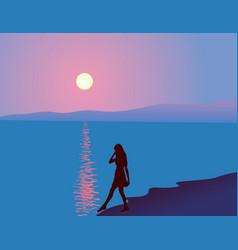 sea sunset vector image