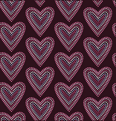 Seamless pattern graphic heart in dots vector