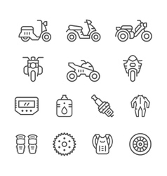 Set of motorcycle related line icons vector