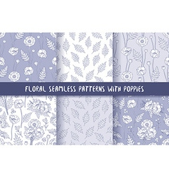 Set of seamless patterns with poppies bohemian vector image