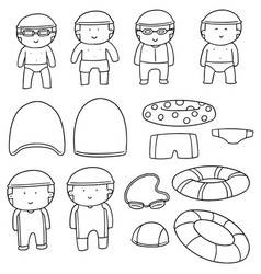 Set of swimmer and swimming accessories vector
