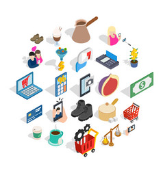 shopping trip icons set isometric style vector image