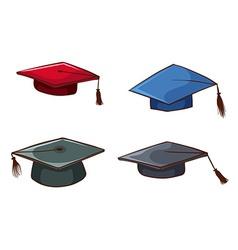 Simple sketches of graduation caps vector