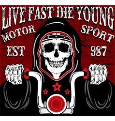 Skull Motorcycle Poster Vintage Man T shirt vector image