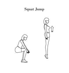 Squat jump outline vector