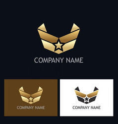 Star wing emblem gold logo vector