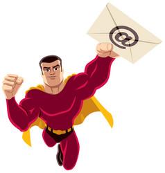 superhero flying e-mail vector image