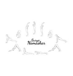 Surya namaskar yoga sequence sun salutation steps vector