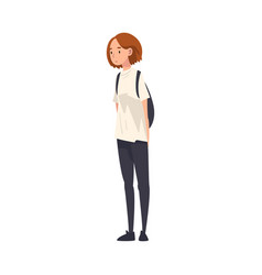 Teen girl standing with backpack teenager vector