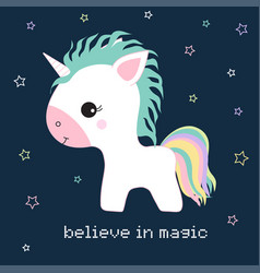 unicorn and stars vector image vector image