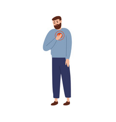 Upset man touching chest with painful expression vector