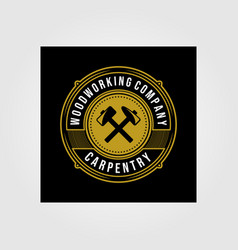 vintage carpentry woodwork premium logo badge vector image