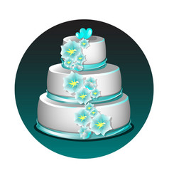 Wedding cake with flowers vector