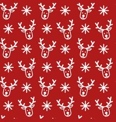white deer snowflake pattern vector image