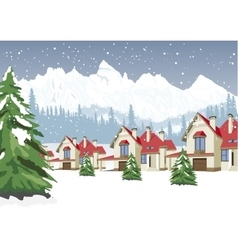 winter scenery with mountain ski resort vector image