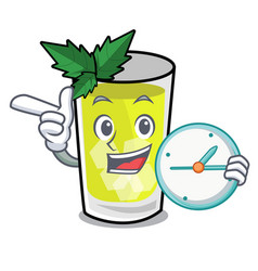 With clock mint julep character cartoon vector