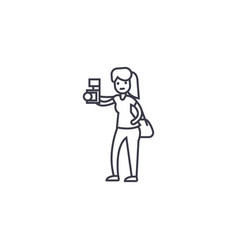 Woman taking a picture line icon sign vector