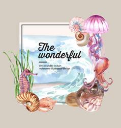 Wreath watercolor design with sea animal concept vector