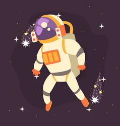 astronaut in space suit working in open space vector image