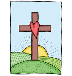 cross with heart vector image