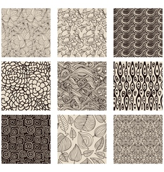 Set of abstract seamless patterns black and white vector image