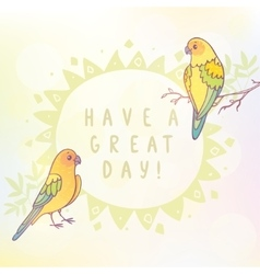 two cute parrots vector image