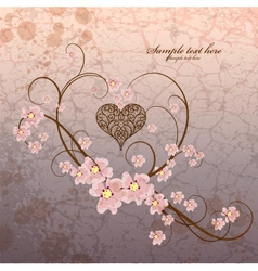 Vintage ornamental frame heart on grunge vector image vector image