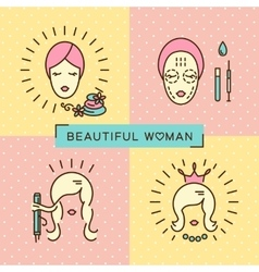 Beauty banner Beautiful woman set line icon art vector image vector image