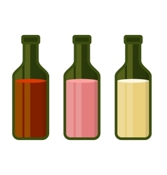 Colors Wine Bottles Set on White Background vector image vector image