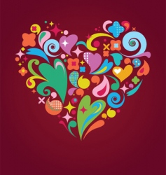 funky floral heart vector image